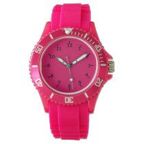 Razzle Dazzle Raspberry Sporty Pink Silicon Wristwatches