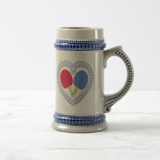 RB Ping Pong Paddle Heart Beer Stein