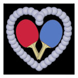 RB Ping Pong Paddle Heart Posters