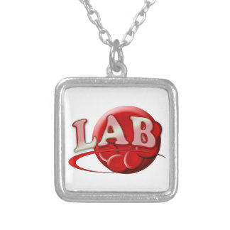 RBC LABORATORY LOGO RED BLOOD CELLS SILVER PLATED NECKLACE