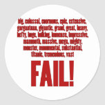 RBF Red, Black Outline Classic Round Sticker