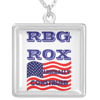 RBG ROX Ginsburg Liberal Democrat Democratic Party Silver Plated Necklace