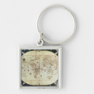 Rc C 2487 Map of the World, designed by Sebastien Silver-Colored Square Keychain