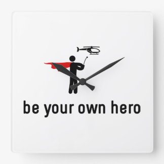 RC Helicopter Hero Square Wall Clock