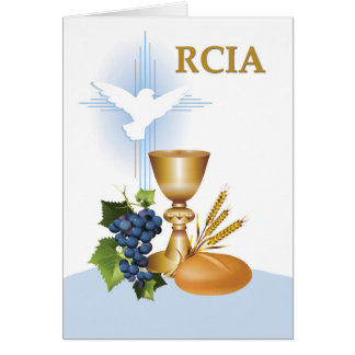 RCIA Congratulations Catholic Sacrament Symbols Card