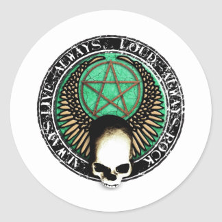 rcok and roll pentagram skull round stickers
