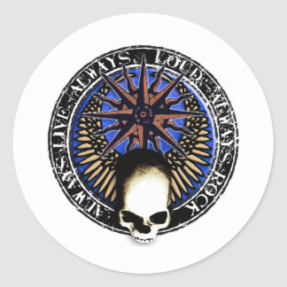 rcok and roll pentagram skull stickers