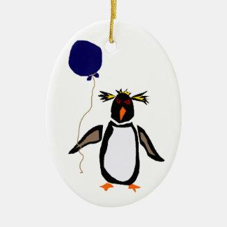 Rcokhopper Penguin Holding Balloon Ceramic Ornament