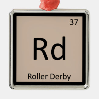 Rd - Roller Derby Sports Chemistry Periodic Table Square Metal Christmas Ornament