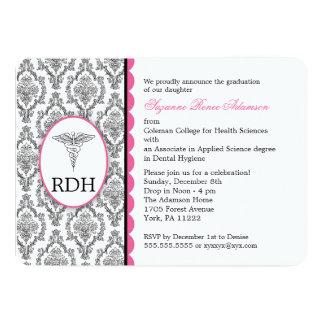 RDH Graduation Dental Hygienist Hygiene damask 5x7 Paper Invitation Card