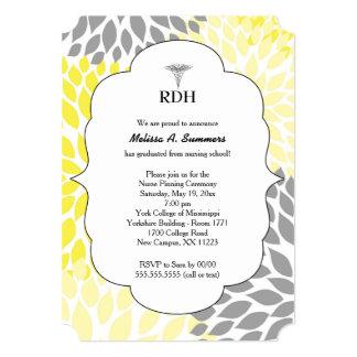 RDH RN BSN graduation ceremony invites yellow gray