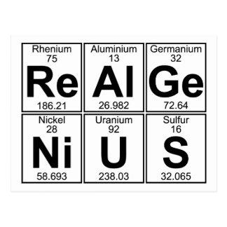 Re-Al-GE-Ni-U-s (genio real) - por completo Tarjetas Postales