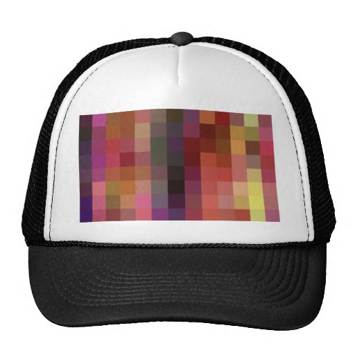 Re-Created Colored Squares Mesh Hats