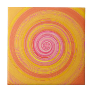 Re-Created Spin Painting Ceramic Tile