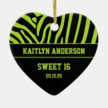 RE-DO Zebra Print and Lime Green Sweet 16 Keepsake Christmas Tree Ornament