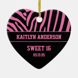 RE-DO Zebra Print and Pink Sweet 16 Keepsake Ceramic Ornament