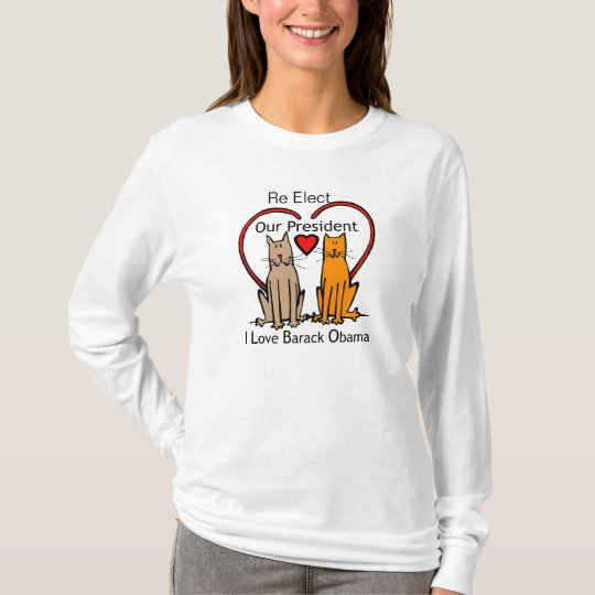 Re elect Barack obama cat and Heart t-shirt