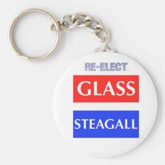 RE-ELECT Glass Steagall Basic Round Button Keychain