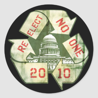 Re-Elect No One Anti-Incumbent Gear Classic Round Sticker
