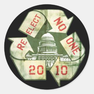 Re-Elect No One Anti-Incumbent Gear Classic Round Sticker