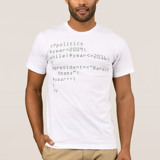 Re-Elect Obama Written in PHP Code T-Shirt
