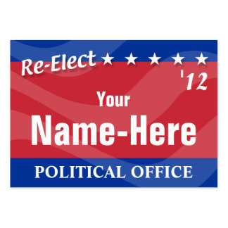 RE-ELECT - Political Campaign Large Business Cards (Pack Of 100)