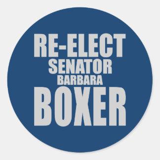Re-Elect Senator Barbara Boxer Classic Round Sticker