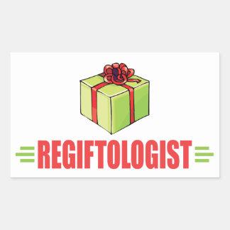 Re-gifting amante del navidad divertido pegatina rectangular