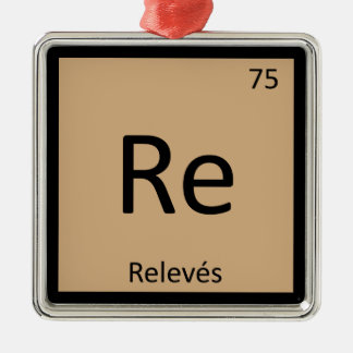 Re - Releves Chemistry Periodic Table Symbol Square Metal Christmas Ornament