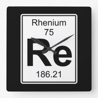 Re - Rhenium Square Wall Clock