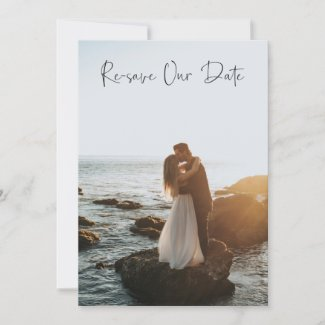 Re-save Our Date Photo Card  - Watercolor
