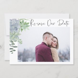 Re-save the Date Photo Card  - succulents