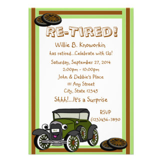 Re-Tired Retirement Party Personalized Invitations