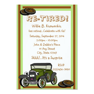 Re-Tired Retirement Party 5x7 Paper Invitation Card