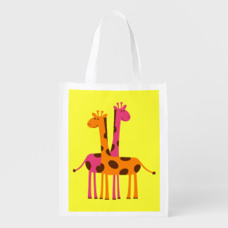 Re-Usable Bag With Cute Giraffes Reusable Grocery Bag