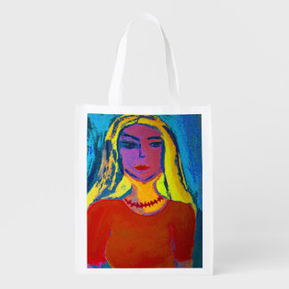 Re-usable shopping bag blond young woman reusable grocery bags