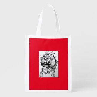 Re-usable shopping bag ZenZia skull Grocery Bags