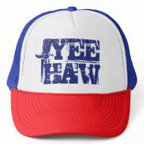 Re White Blue Patriotic Yeehaw Cowboy Boot Trucker Hat