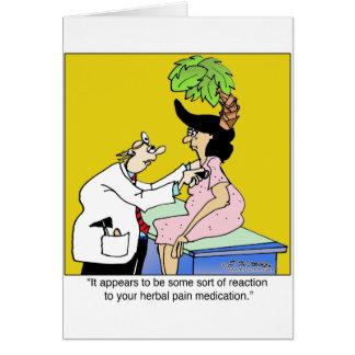 Reacción a la medicación herbaria tarjeta de felicitación