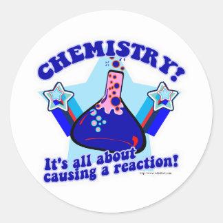 Reacción química pegatina redonda