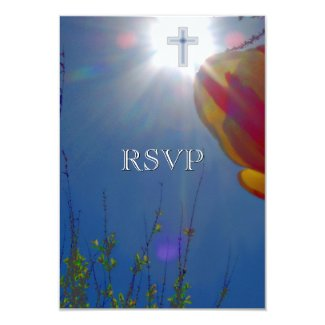 """Reach for Sky FIRST COMMUNION CONFIRMATION RSVP 3.5"""" X 5"""" Invitation Card"""