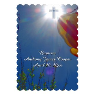 "Reach for the Sky BABY BOY BAPTISM CHRISTENING 5"" X 7"" Invitation Card"