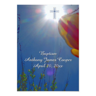 Reach for the Sky BABY BOY BAPTISM CHRISTENING 5x7 Paper Invitation Card