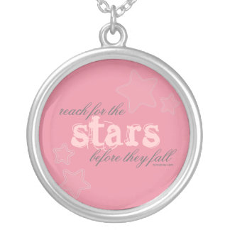 Reach for the Stars before they fall Round Pendant Necklace
