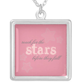 Reach for the Stars before they fall Square Pendant Necklace