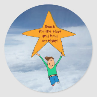 Reach for the stars... classic round sticker
