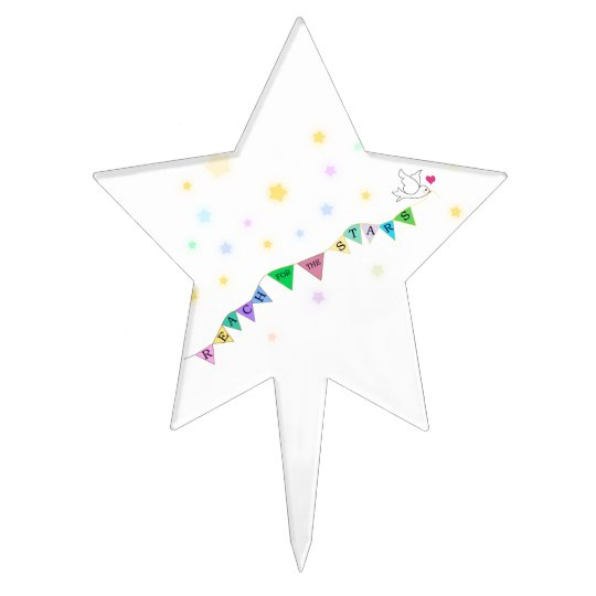 Reach for the Stars Cute Bird Bunting Cake Topper