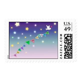 Reach for the Stars Cute Bird Bunting Postage Stamps