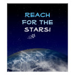 Reach for the Stars Planet Earth Flying Star Poster