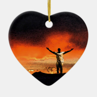 Reach for the Top of Your Mountain Double-Sided Heart Ceramic Christmas Ornament
